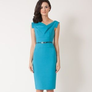 Blue Classic Celeb Jackie O Belted Cocktail Dress
